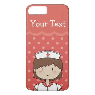 Cartoon Nurse with Short Hair & Custom Text iPhone 7 Plus Case