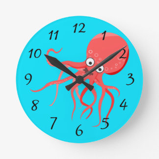Cartoon Octopus Background Round Clock
