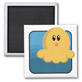 Cartoon Octopus Square Magnet