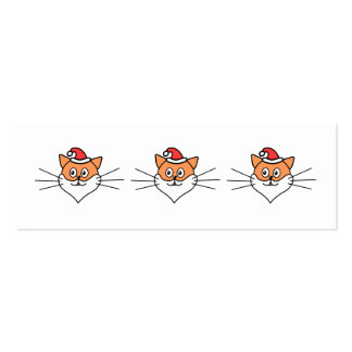 Cartoon of a Cat in a Santa Hat and Beard. Pack Of Skinny Business Cards