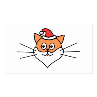 Cartoon of a Cat in a Santa Hat and Beard. Pack Of Standard Business Cards
