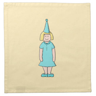 Cartoon of a girl dressed for a birthday party. napkin