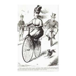 Cartoon of a Lady on a Velocipede, 1869 Canvas Print