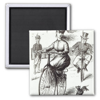 Cartoon of a Lady on a Velocipede, 1869 Square Magnet