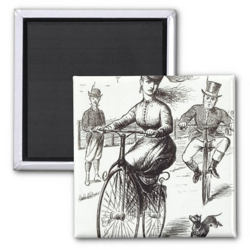 Cartoon of a Lady on a Velocipede, 1869 Magnets