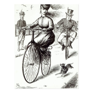 Cartoon of a Lady on a Velocipede, 1869 Postcard