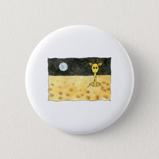 Cartoon of a lost giraffe. 6 cm round badge