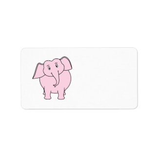 Cartoon of a Pink Elephant Label