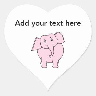 Cartoon of a Pink Elephant Heart Stickers