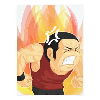 Cartoon of Angry Man 14 Cm X 19 Cm Invitation Card