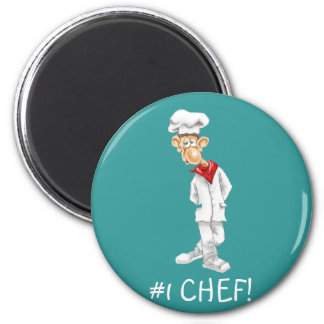 Cartoon of Chef with funny sayings 6 Cm Round Magnet