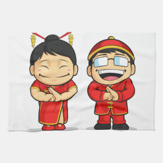 Cartoon of Chinese Boy & Girl Kitchen Towels