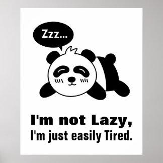 Cartoon of Cute and Lazy Panda Posters