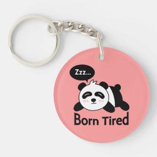 Cartoon of Cute Sleeping Panda Double-Sided Round Acrylic Key Ring