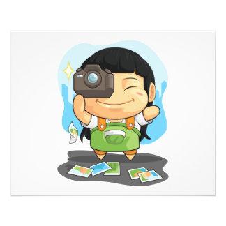 Cartoon of Girl Loves Photography 11.5 Cm X 14 Cm Flyer