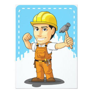 Cartoon of Industrial Construction Worker 14 Cm X 19 Cm Invitation Card