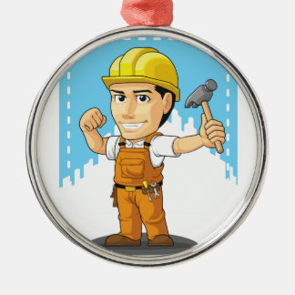 Cartoon of Industrial Construction Worker Christmas Ornament
