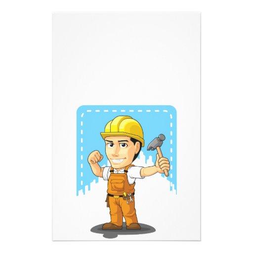 Cartoon of Industrial Construction Worker Flyer Design