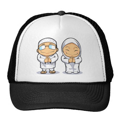 Cartoon of Muslim Man & Woman Mesh Hats