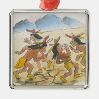 Cartoon of Native American men performing rain Christmas Ornament
