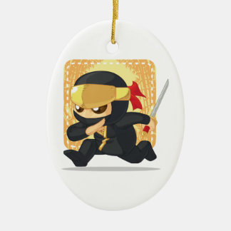 Cartoon of Ninja Holding Japanese Sword Double-Sided Oval Ceramic Christmas Ornament