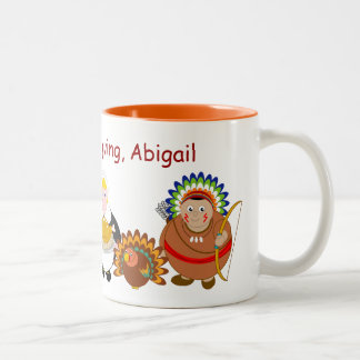Cartoon of Pilgrim Fathers and American Indians, Two-Tone Coffee Mug