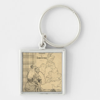 Cartoon of Queen Victoria from Le Rire Silver-Colored Square Key Ring