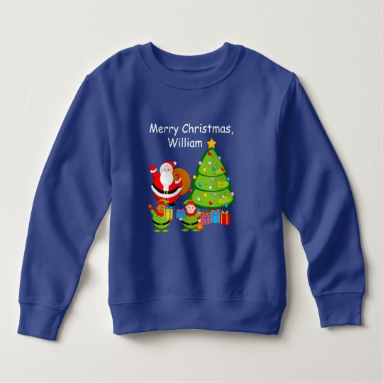 Cartoon of Santa Claus delivering Christmas gifts, Sweatshirt