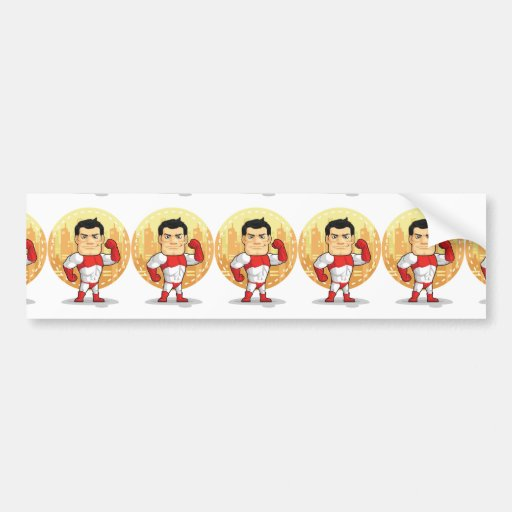 Cartoon of Superhero Bumper Sticker