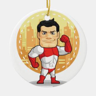 Cartoon of Superhero Christmas Ornament
