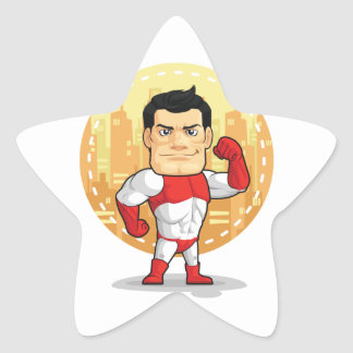 Cartoon of Superhero Star Sticker