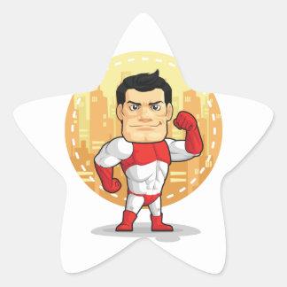 Cartoon of Superhero Star Sticker
