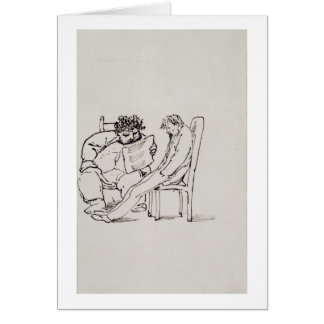 Cartoon of William Morris (1834-96) reading poetry Card