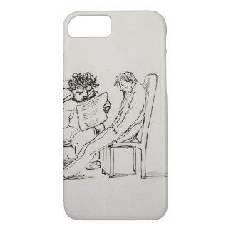 Cartoon of William Morris (1834-96) reading poetry iPhone 8/7 Case