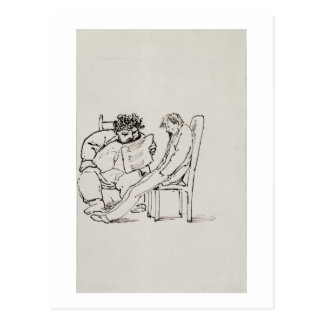 Cartoon of William Morris (1834-96) reading poetry Postcard