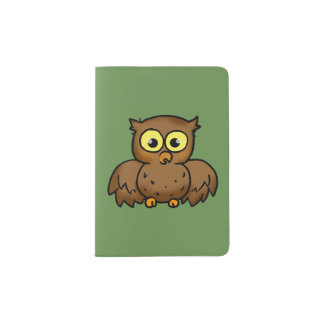 cartoon owl bird passport holder