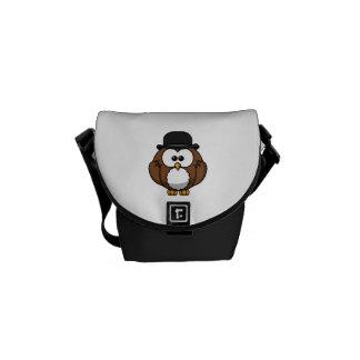 Cartoon Owl in Bowler Hat Messenger Bags