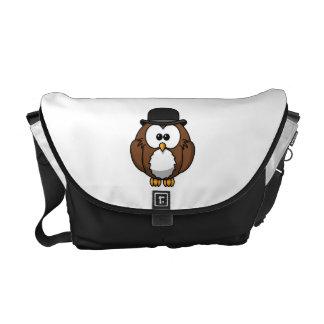 Cartoon Owl in Bowler Hat Messenger Bag