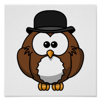 Cartoon Owl in Bowler Hat Poster