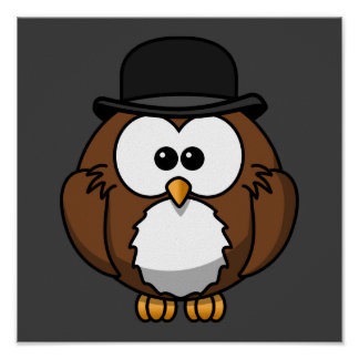 Cartoon Owl in Bowler Hat with Grey Background Posters