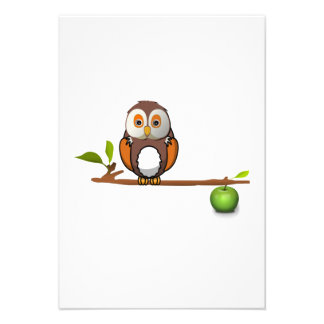 Cartoon Owl on Branch Personalized Announcements