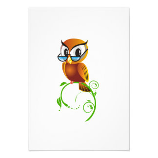 Cartoon Owl on Green Branch Personalized Announcements
