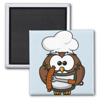 Cartoon Owl Summer Barbecue Blue Magnet