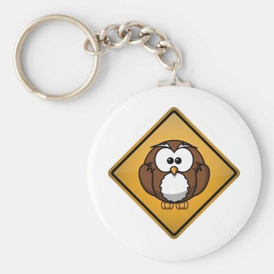 Cartoon Owl Warning Sign Basic Round Button Key Ring