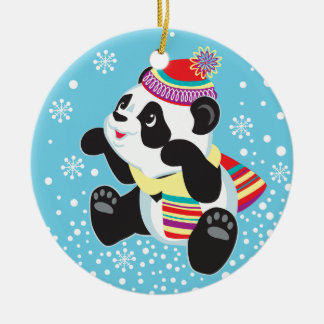 cartoon panda round ceramic decoration