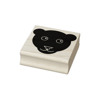 Cartoon Panther Face Rubber Stamp