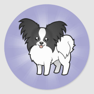 Cartoon Papillon Classic Round Sticker