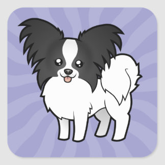 Cartoon Papillon Square Sticker