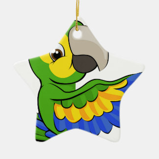 Cartoon Parrot Pointing Around Sign Ceramic Star Decoration