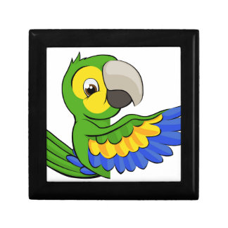 Cartoon Parrot Pointing Around Sign Small Square Gift Box